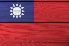 Flaga chińczyk Taipei na drewnianym półkowym tle Grunge Tajwan flagi tekstura obraz royalty free
