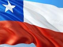 Flaga Chile falowanie w wiatrze przeciw g??bokiemu niebieskiemu niebu Wysokiej jako?ci tkanina zdjęcie stock
