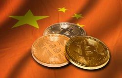 Flaga Chiny i bitcoin Obraz Stock