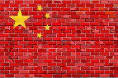 Flaga Chiny na ściana z cegieł Obraz Stock