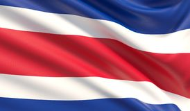 Flaga Costa Rica Machająca wysoce szczegółowa tkaniny tekstura ilustracji