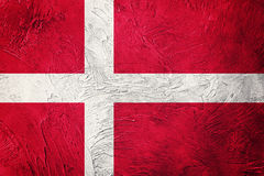 flaga denmark crunch Dani flaga z grunge teksturą Obrazy Royalty Free