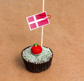 Flaga Denmark na babeczce Obrazy Royalty Free