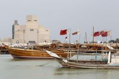 Flaga, dhows i Islamski muzeum sztuki, Zdjęcie Royalty Free