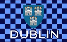 Flaga Dublin jest kapitałowym i wielkim miastem Irlandia ilustracji