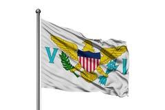 Flaga Dziewicze wyspy Stany Zjednoczone falowanie w wiatrze, odosobniony biały tło obrazy royalty free