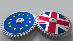 Flaga Europejski zjednoczenie i Zjednoczone Królestwo na meshing przekładniach Międzynarodowego współpracy konceptualny 3D render Obrazy Royalty Free