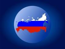 flaga federacji rosyjskiej sferze mapy. Zdjęcia Stock