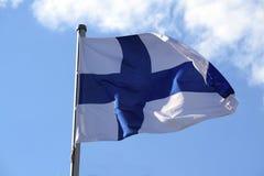 Flaga Finlandia z błękitnym krzyżem na białym tle Fotografia Royalty Free