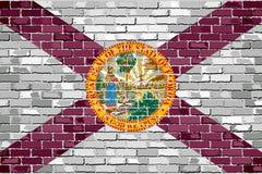 Flaga Floryda na ściana z cegieł Zdjęcia Stock