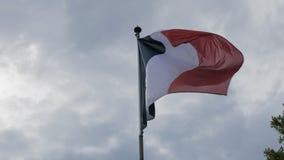 Flaga Francja falowanie na flagpole w wiatrze przeciw niebieskiemu niebu Poj?cie patriotyzm swobodny ruch zbiory