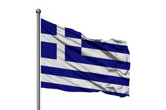 Flaga Grecja falowanie w wiatrze, odosobniony biały tło grek bandery obraz royalty free