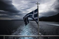 flaga Grecja w ruchu Fotografia Royalty Free