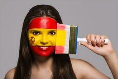 Flaga Hiszpania malował na twarzy Obrazy Royalty Free