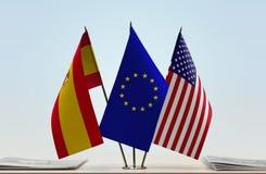 Flaga Hiszpania UE i usa zdjęcie royalty free