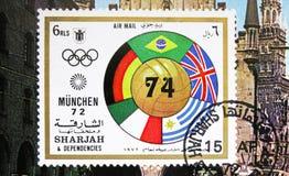 Flaga i futbol, Jules Rimet filiżanki seria około 1972, obrazy stock
