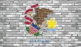 Flaga Illinois na ściana z cegieł Zdjęcia Stock