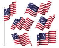 flaga ilustraci usa wektorowa sie? Set sześć falistych flag Stany Zjednoczone patriotyczny krajowy symbol royalty ilustracja