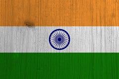 Flaga India na drewnie, tło ilustracji