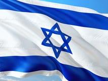 Flaga Izrael falowanie w wiatrze przeciw g??bokiemu niebieskiemu niebu Wysokiej jako?ci tkanina fotografia stock