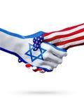 Flaga Izrael i Stany Zjednoczone kraje, overprinted uścisk dłoni obrazy royalty free