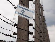 Flaga Izrael w ogrodzeniu koncentracyjny obóz Zdjęcie Royalty Free