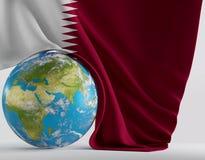 Flaga Katar 3d-illustration Elementy ten wizerunek meblujący Obrazy Royalty Free