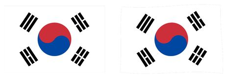 Flaga korea południowa Taegukgi Prosty i nieznacznie machający versi royalty ilustracja