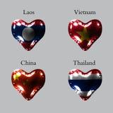 Flaga kraje azjatyccy Flaga Laos, Wietnam, Chiny, Tajlandia na lotniczej piłce w postaci serca robić glansowana mata ilustracji