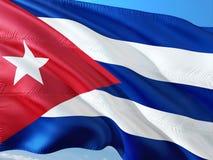 Flaga Kuba falowanie w wiatrze przeciw g??bokiemu niebieskiemu niebu Wysokiej jako?ci tkanina obraz royalty free