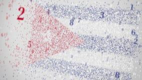 Flaga KUBA komponuje z liczbami Konceptualna 3D animacja zbiory