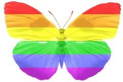 Flaga LGBT na skrzydłach motyl pojedynczy białe tło fotografia stock