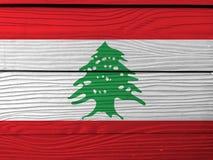 Flaga Liban na drewnianym ściennym tle Grunge libańczyka flagi tekstura ilustracja wektor