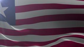 Flaga Liberia falowanie na flagpole w wiatrze, krajowy symbol wolność ilustracja wektor