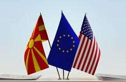 Flaga Macedonia UE i usa Fotografia Stock