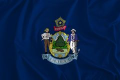 Flaga Maine tło sosna stan, Vacationland ilustracji