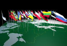 - flaga mapy europejskiego widok Obraz Royalty Free