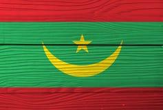 Flaga Mauretania na drewnianym ściennym tle Grunge Mauretania flaga tekstura zdjęcia royalty free