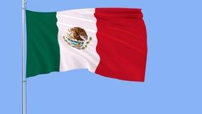 Flaga Meksyk na flagpole trzepocze w wiatrze na błękitnym tle, 3d rendering Fotografia Stock