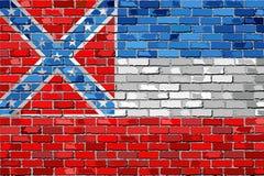 Flaga Mississippi na ściana z cegieł Zdjęcie Royalty Free