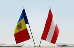Flaga Moldova i Austria zdjęcie stock