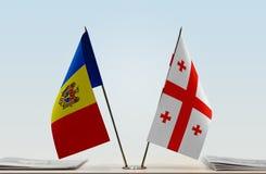 Flaga Moldova i Gruzja zdjęcie stock
