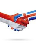 Flaga Monaco, Iceland kraje, partnerstwo przyjaźni uścisku dłoni pojęcie Fotografia Stock