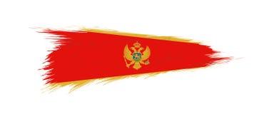 Flaga Montenegro w grunge muśnięcia uderzeniu ilustracja wektor