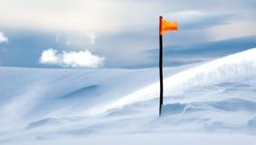 Flaga na górze śnieżnej góry fotografia royalty free