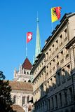 Flaga nad Genewa Obrazy Stock