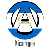 Flaga Nikaragua świat w postaci znaka anarchia ilustracja wektor