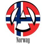 Flaga Norwegia świat w postaci znaka anarchia ilustracja wektor