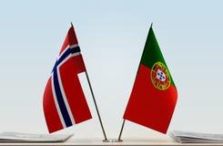 Flaga Norwegia i Portugalia zdjęcie royalty free