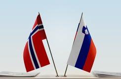 Flaga Norwegia i Slovenia obraz royalty free
